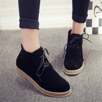 Women Ankle Boots Flat Heels Lace Casual Shoes Woman Oxfords