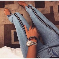 Women Fashion Personality Zip High Waist Jeans Trousers