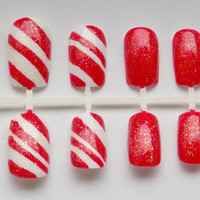 Candy Cane Fake Nails - False, Artificial, Acrylic, Press-On