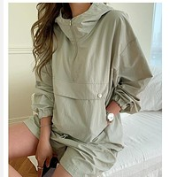 Spring Summer Tracksuit Women's Suit 2 Pieces Set Hooded Long Sleeve Hoodies And Shorts Female Casual