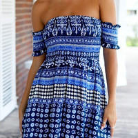 Blue Aztec Print Off Shoulder Mini Dress