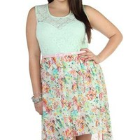 plus size illusion lace tank belted floral high low dress - debshops.com
