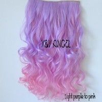 X&Y ANGEL New Two Tone One Piece Long Curl/curly/wavy Synthetic Thick Hair Extensions Clip-on Hairpieces Mixed Light Purple To Pink