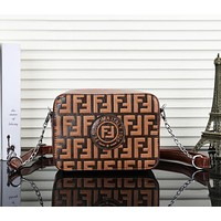 Fendi New fashion leather more letter print shoulder bag women crossbody bag Brown