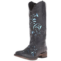 Roper Womens Belle Leather Distressed Cowboy, Western Boots
