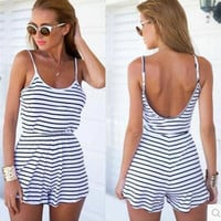 Women's Fashion Stripes Spaghetti Strap Casual Shorts Jumpsuit [4970292420]