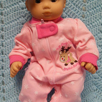 """American Girl BITTY BABY clothes """"No Day Like A Snow Day"""" (15 inch) Christmas doll outfit with sleeper and headband/ hair clip  reindeer"""