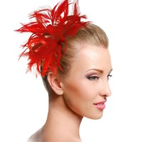 Bridal Feathered Fascinator - M39 ROYAL BLUE