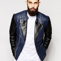 ASOS Leather Biker Jacket With Contrast Sleeve