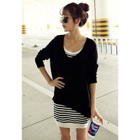 Black Sweater and  Stripes Slip Dress Twinset