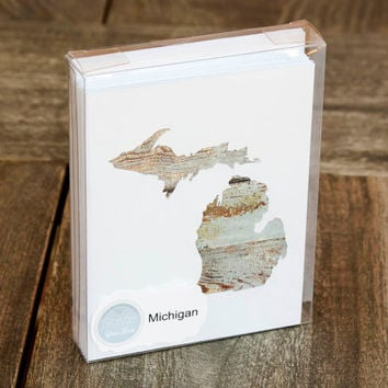 Michigan or any US state shape map cutout wood texture photography blank note cards. Box/12. Die cut, Thank You, Country Chic, Rustic