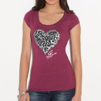 G by GUESS Leo Heart Tee: Amazon.com: Clothing