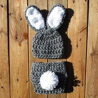 Baby Bunny Heather Grey White Hat and Diaper Cover Set Newborn Photo