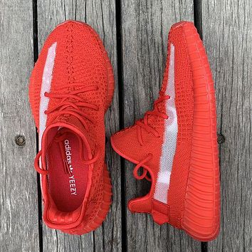 ADIDAS YEEZY 350 New Style Sneakers Red With White Line Shoes