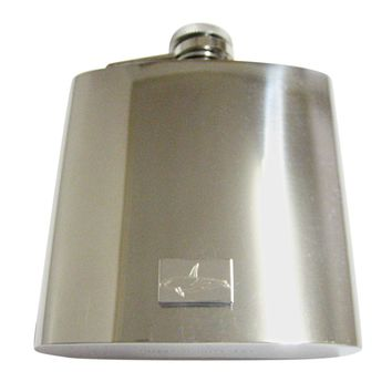 Silver Toned Etched Killer Whale Orca 6 Oz. Stainless Steel Flask