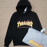 Thrasher Hoodie New Skateboard Pullover Hip Hop Fleece Hoodie Autumn And Winter Hoodie Grey Black Pink Green/4 Colors Asia Size