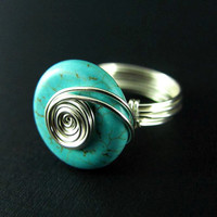 Wire Wrap Ring Turquoise Ring Wire Wrapped Jewelry Custom Ring Handmade