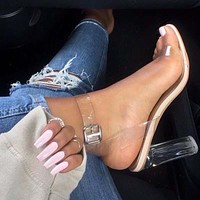 clear gladiator buckle strap high heels