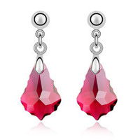 Imported Austrian Crystal Earrings - Baroque leaf export to Europe and America jewelry factory strength    PURPLE RED