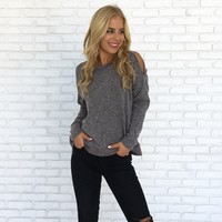 April Ribbed Sweater Top in Charcoal
