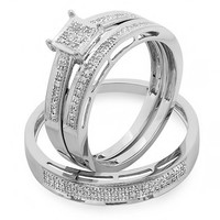 0.18 Carat (ctw) 10K Gold Round Diamond Ladies & Mens Engagement Ring Trio Set Band