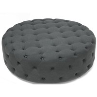Grand Gray Round Tufted Ottoman