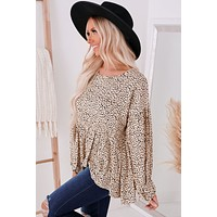 Looking For More Spotted Long Sleeve Top (Taupe)