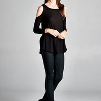 Chill Out Cold Shoulder Top in Black