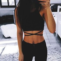 Comfortable Hot Beach Bralette Stylish Women's Fashion Summer Hot Sale Sexy Spaghetti Strap Wrap Cross Strap Vest [10177710983]
