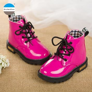 Girls PU Leather Glossy Lace Up Boots