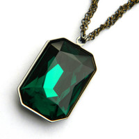 Great and Powerful Oz - Evanora - Emerald City Jewerly - Wicked Witch - Large Swarovski Pendant Necklace - Brass Chain - Gifts Under 30, 50