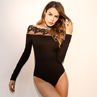 Women All-match Solid Color Bodycon Stitching Lace Off Shoulder Long Sleeve Show Thin Jumpsuit Bodysuit