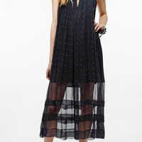 Urban Outfitters - TBA Chiffon Rose Tie-Neck Maxi Dress