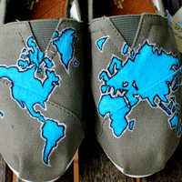 World Map TOMS shoes by BStreetShoes on Etsy