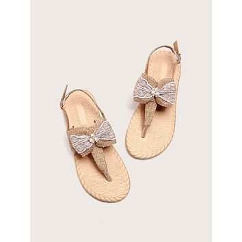 Bow & Faux Pearl Decor Thong Sandals