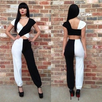 WOMAN SEXY WHITE BLACK  LOOSED JUMPSUIT S-L = 1697633476