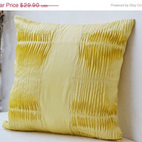 Valentine SALE Decorative Pillow with pleats - Yellow silk blend cushion cover - Yellow pillows - 20x20 pleated pillow - gift pillow -Soli