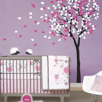 """Baby Nursery Wall Decals - Tree Wall Decal - Tree Decal - Hedgehog Decal - Large: approx 79"""" x 85"""" - KC004"""