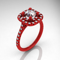 Exclusive French 14K Red Gold 1.0 Ct Russian Ice CZ Diamond Engagement Ring R1028-14KREGDRICZ