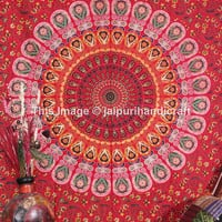 Wall Hanging Indian Mandala Tapestry, Table Runner Wall Décor, Red Bed Cover Twin Size, Indian Tapestry, Bohemian Wall Hanging, Beach Sheet