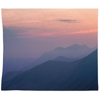 Mountain Sunset Wall Tapestry Blue Gray Yoga Meditation Hippie Wall Hanging
