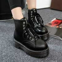 Chunky PU Leather Lace up Boots