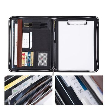 CAGIE A4 File Zipper Folder Multifunction More Data Pockets Padfolio Pu Leather Office Include Clipboard Manager Folder Bag
