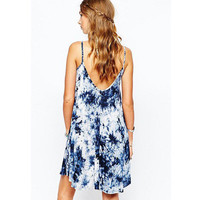 SIMPLE - Retro Floral Loose Backless Sexy Strap V Neck One Piece Dress b5058