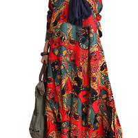 Red Vintage Printed Long Sleeve Layered Maxi Dress