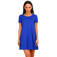 Royal Blue Short Sleeve Casual Flare Dress