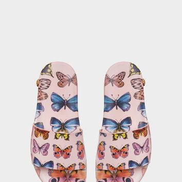 Versace Butterfly Print Slides for Women | US Online Store