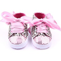 Autumn Newborn Baby Girl Shoes Sequin Leopard Lace Up Non-Slip Sneaker Shoes 0-12M