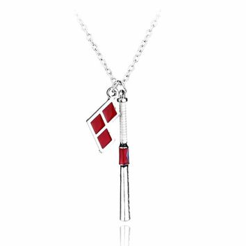 New Arrivals Suicide Squad Harley Quinn Baseball Bat Pendant Necklace High Quality Women And Men Jewelry
