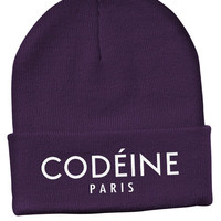 The Mouth Fulla Gold CODEINE PARIS BEANIE (Purp/White)